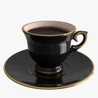 realistic cup saucer set 3D model