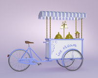 3D model ice cream mobile handcart