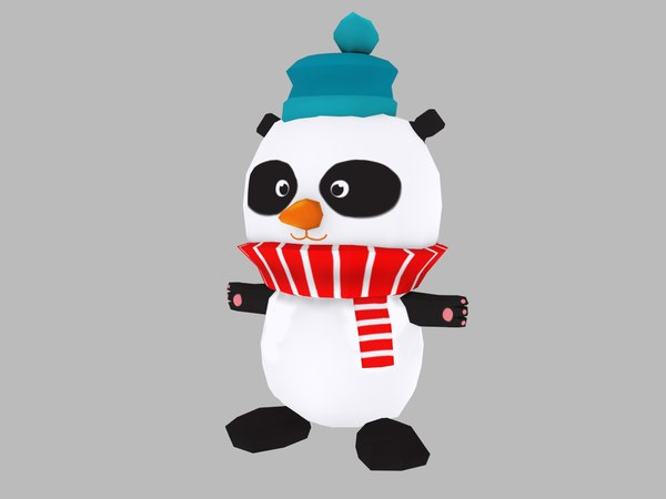 cartoon christmas panda 3D model