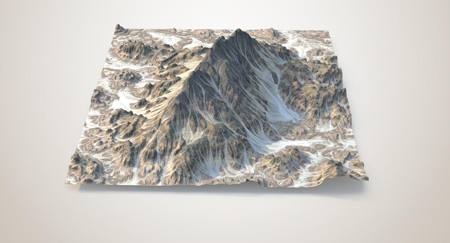 3D model rocky snowy mountain