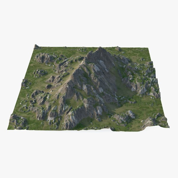 rocky grassy mountain 3D model