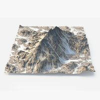3D model rocky snowy mountain
