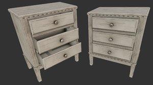 3D model old wooden dresser cabinet