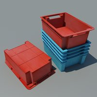 3D plastic crate box