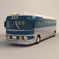 Low Poly Cartoon Intercity Bus
