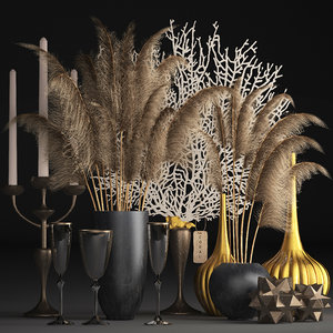 decor dry flowers phragmites 3D