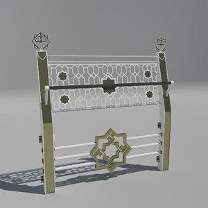 3D selcuklu pattern handrail railing