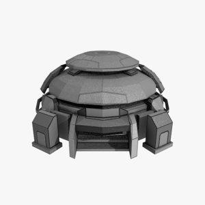 3D sci-fi bunker model