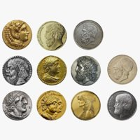 Greek Coins Set 3D Model