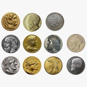 ancient greek coins 3D model
