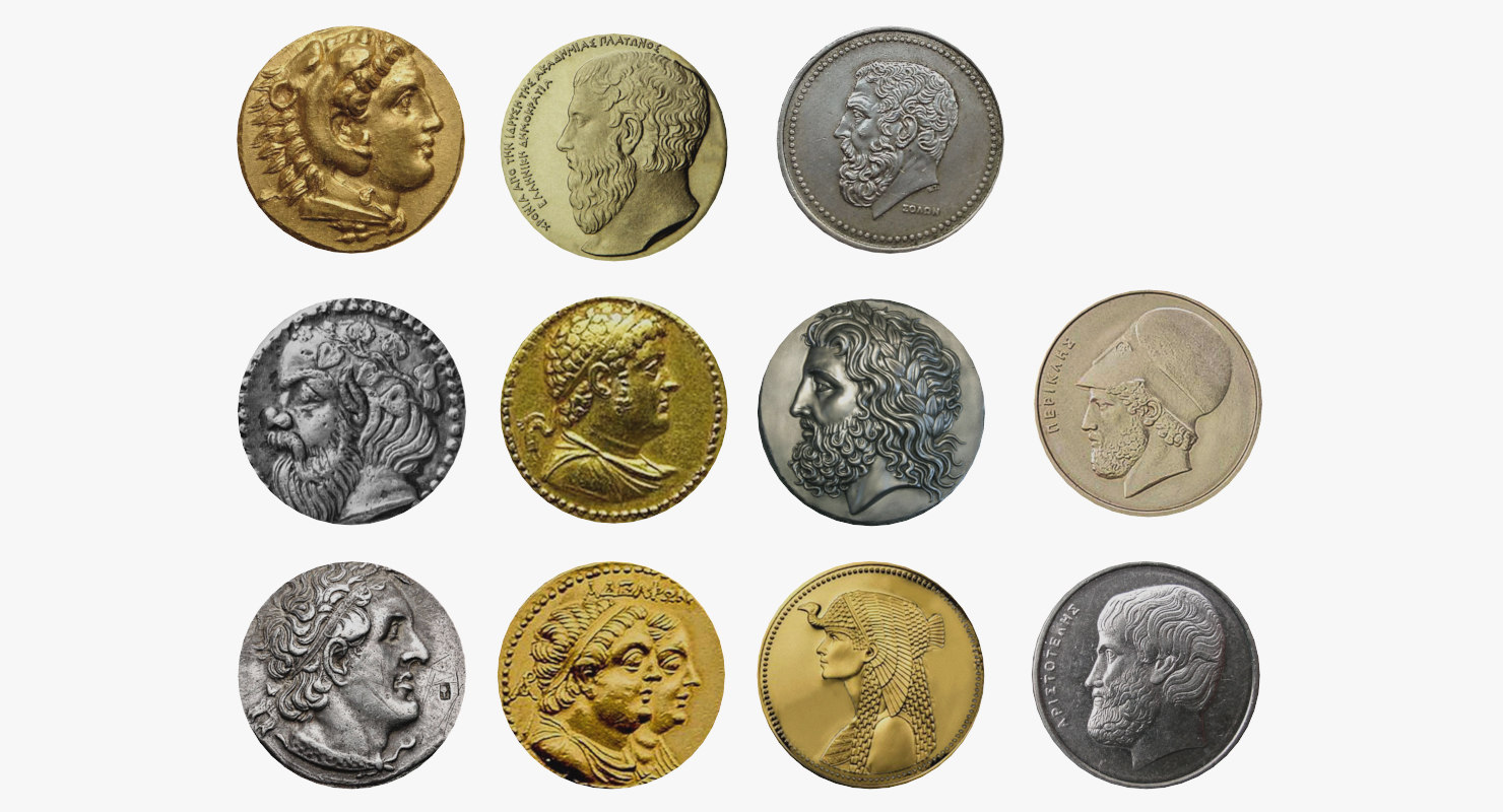 Greek Coins Set 3D Model