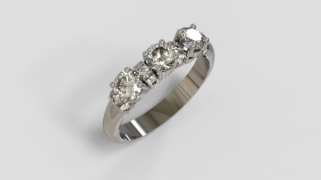 3D ring diamonds platinum model