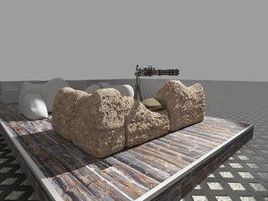 trench barricade gun 3D model