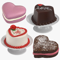 3D model heart shaped desserts