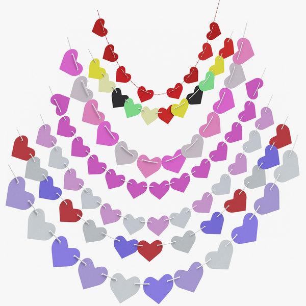 3D valentine garlands model