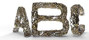 fonts dual mesh letter 3D model
