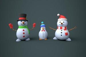 3D snowmen snow