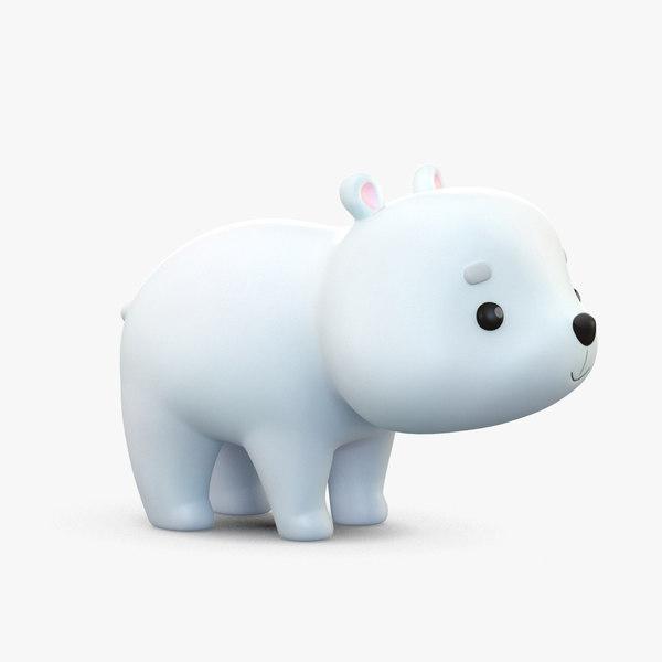 3D cute cartoon polar bear model