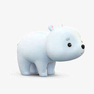 3D cute cartoon polar bear model