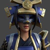 3D samurai blue