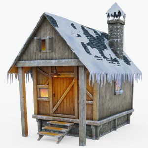 snow covered cabin model
