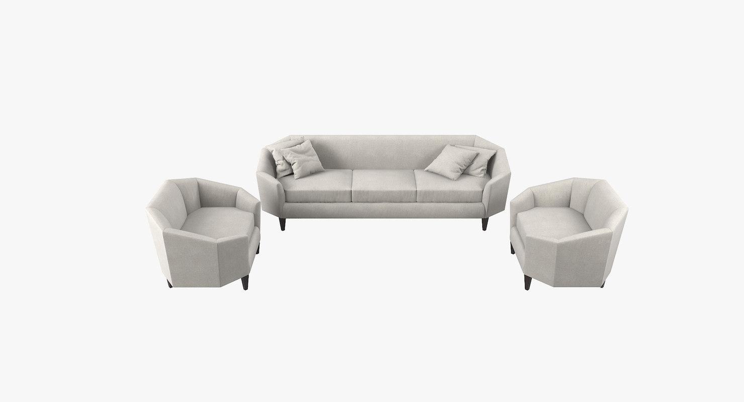 diamond lounge sofa chairs 3D model