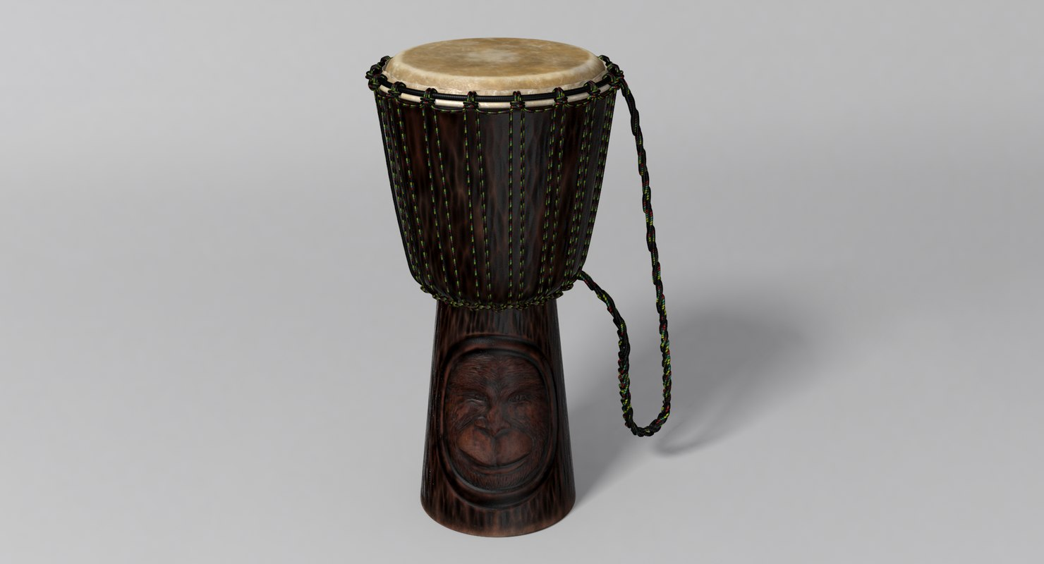 3D model african djembe ape carving
