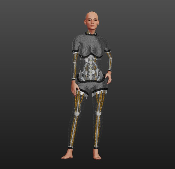 3D sarah robot rigged female animation