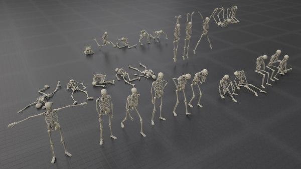 pack poses skeleton bones 3D model