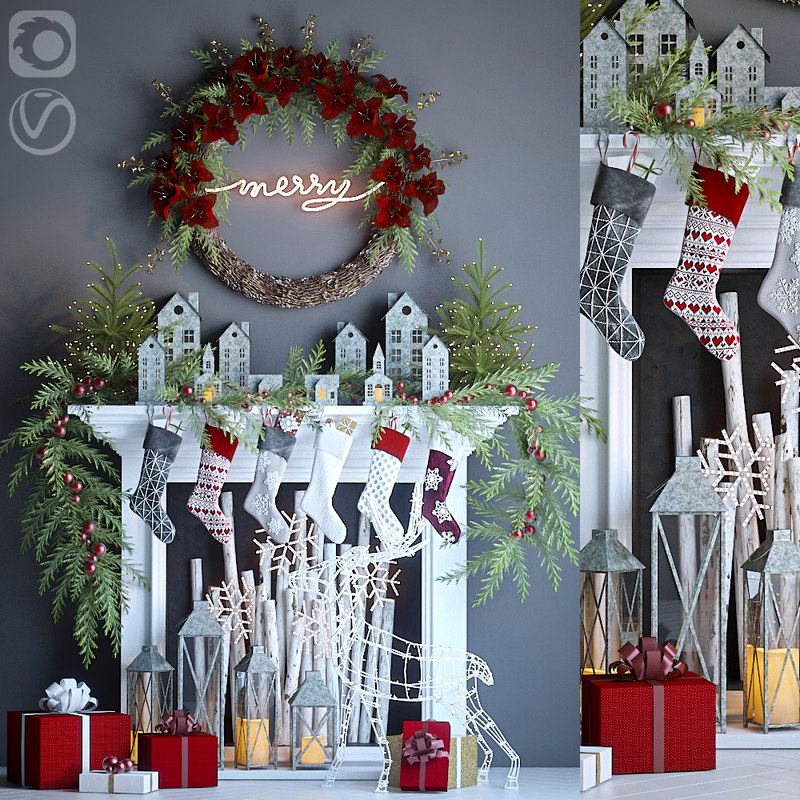holiday fireplace 3D model