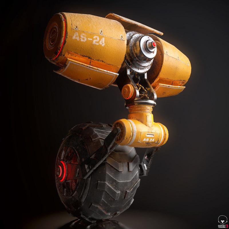 yellow robot pbr 3D model