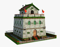 3D model asia asian building