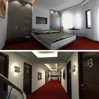hotel room corridor 3D model