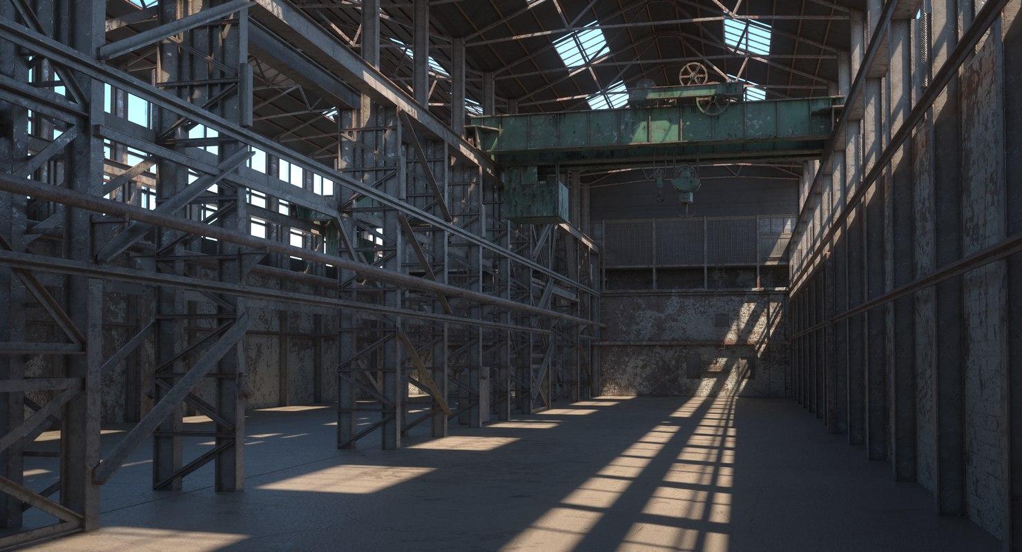 3D model abandoned warehouse