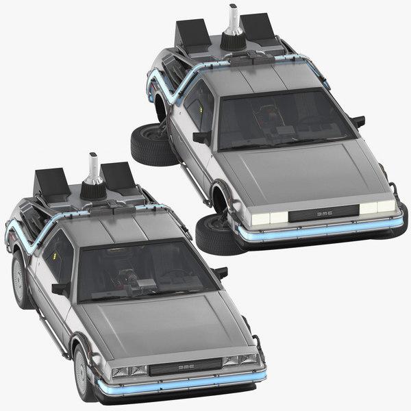 delorean future driving flying 3D model