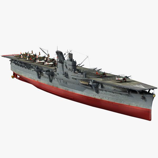 3D japanese aircraft carrier hiyo model
