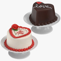 3D heart shaped cakes model