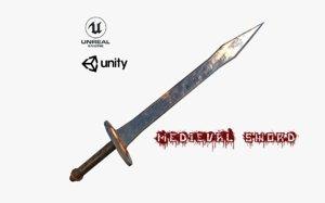 3D realistic medieval sword