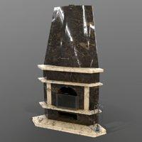 fireplace granite 3D model