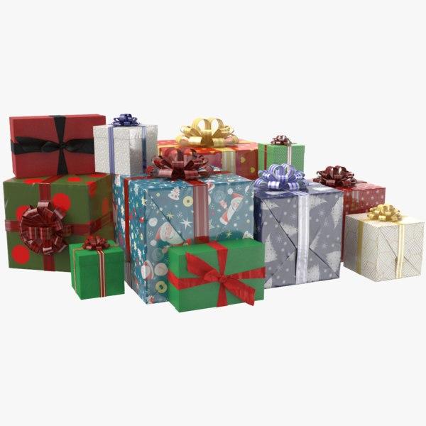3D real gift boxes ribbon model