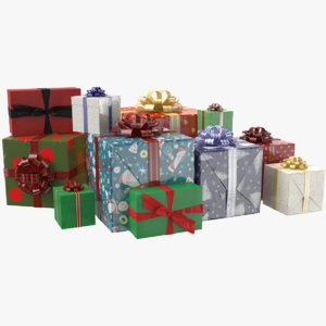 3D real gift boxes ribbon model