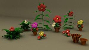 3D model flowers flowerpots