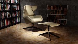3D large armchair footrest model