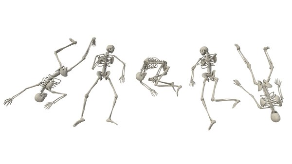 3D model laying poses low-poly skeletons