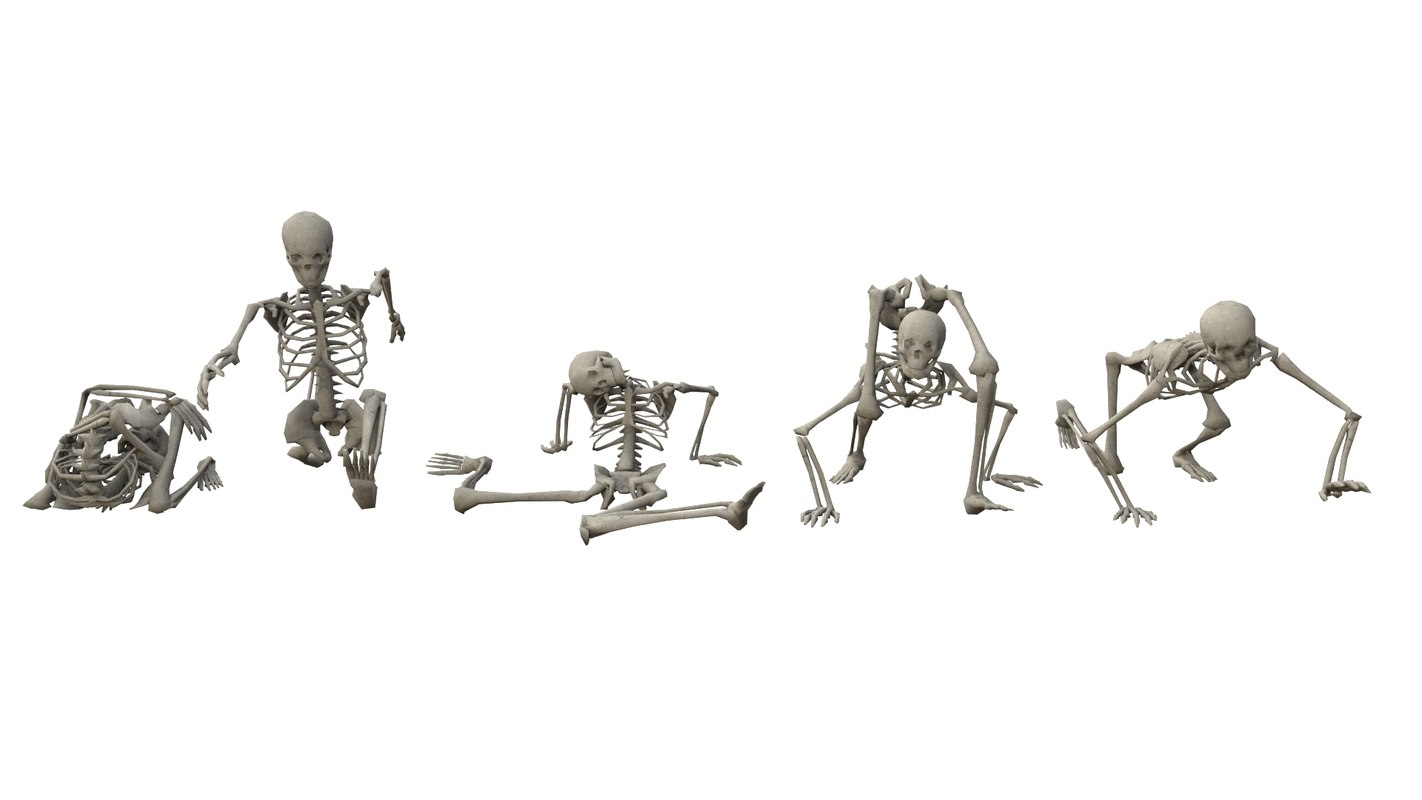 random poses low-poly skeletons 3D model