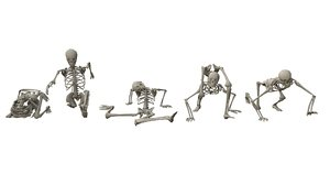 random poses low-poly skeletons 3D model