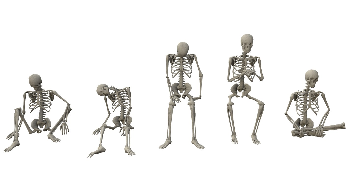 sitting poses low-poly skeletons 3D model