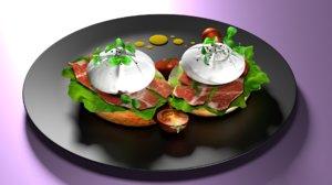 poached eggs 3D
