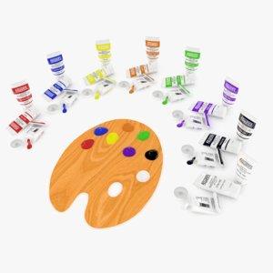 3D paint palette tubes model