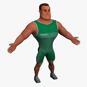 cartoon athlete 3d model